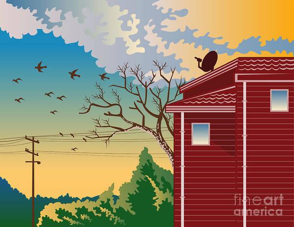 House Art Print featuring the digital art House With Satellite Dish Retro by Aloysius Patrimonio