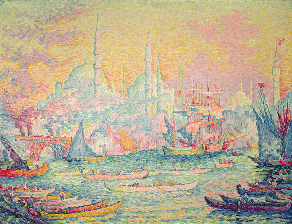 Neo-impressionist; Pointillist; Landscape; Hagia; Byzantine Architecture; Rowing Boat; Minaret; Constantinople Art Print featuring the painting Istanbul by Paul Signac