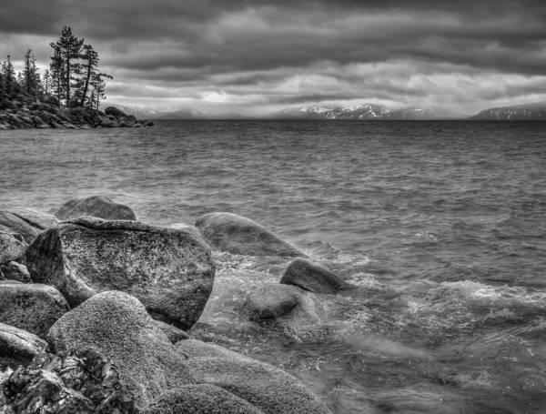 Black And White Art Print featuring the photograph Lake Tahoe Winter Storm by Scott McGuire