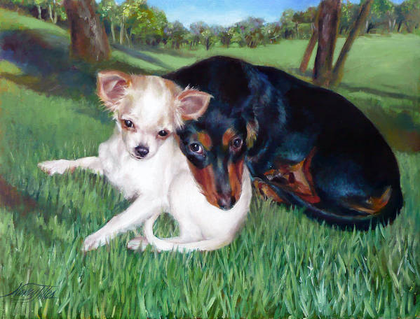 Art Print featuring the painting Lena And Peanut by Nancy Tilles
