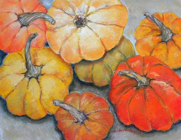 Pumpkins Print featuring the painting Little Pumpkins by Hilda Vandergriff