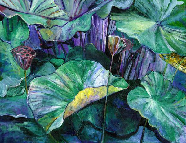 Lotus Art Print featuring the painting Lotus Pond by Carol Mangano