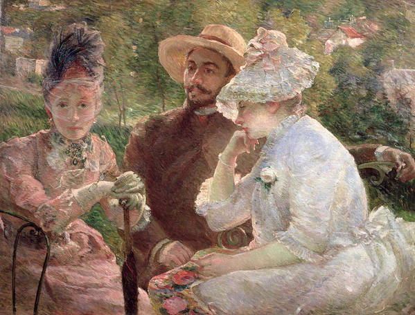 Impressionist; Veil; Straw Hat; Society; Lace; Lorgnette; Terrasse; Upper Class; Male; Female; Women; Men; Man; Woman; Seated Art Print featuring the painting On The Terrace At Sevres by Marie Bracquemond