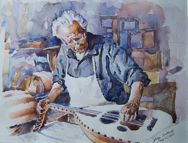 Lebanon-lebanese Paintings-lebanese-watercolor-paintings-lebanese Watercolors Art Print featuring the painting Oud Maker by Ghazi Toutounji