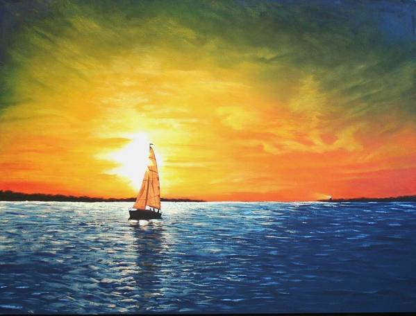 Seascape Art Print featuring the painting Safe Harbor by Candy Prather
