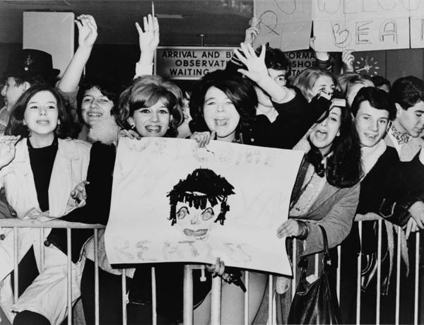 History Art Print featuring the photograph Screaming Teenagers Girls Wave A Crude by Everett