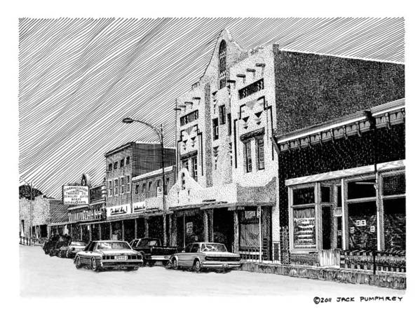 A Pen & Ink Drawing Of Burrard Street In Silver City Art Print featuring the drawing Silver City New Mexico by Jack Pumphrey