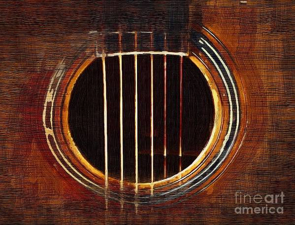 guitar sound Hole music abstract Art Print featuring the digital art Sound Hole by Sanjeev Babbar