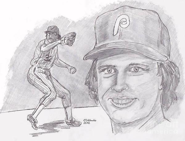 Phillies Art Print featuring the drawing Steve Carlton- Lefty by Chris DelVecchio