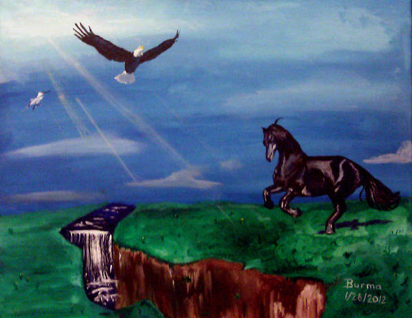 Eagle Art Print featuring the painting Strenght And Flight by Burma Brown