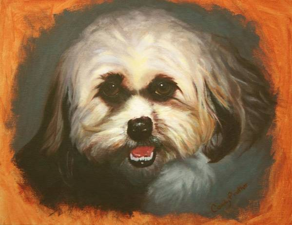 Dog Art Print featuring the painting Bright Eyes by Candy Prather