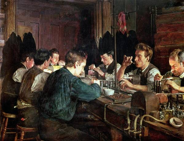 Industry; Blowing; Factory; Working; Blower; Glassblower Art Print featuring the painting The Glass Blowers by Charles Frederic Ulrich