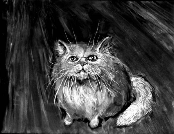 White Cat Art Print featuring the painting The White Cat by Anthony Shechtman