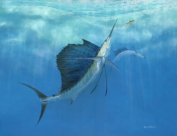 Kevin Brant Print featuring the painting Two Of A Kind Sailfish by Kevin Brant