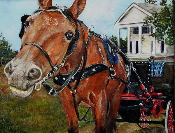 Leslie Art Print featuring the painting Waiting For Church by Leslie Hoops-Wallace