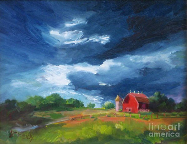 Landscape Art Print featuring the painting Watering The Crops by Judith Reidy
