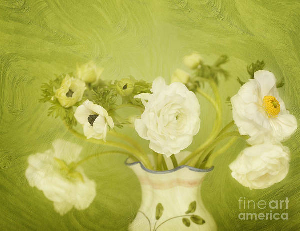 Ranunculus Art Print featuring the photograph White Anemonies And Ranunculus On Green by Susan Gary