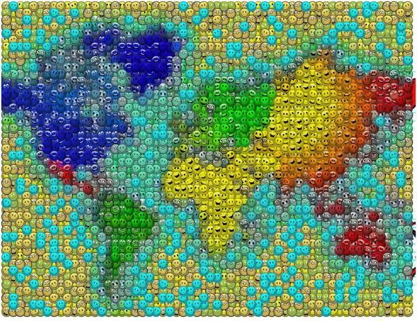 World peace smiley face world map mosaic art print by paul van scott world map art print featuring the digital art world peace smiley face world map mosaic by gumiabroncs Gallery