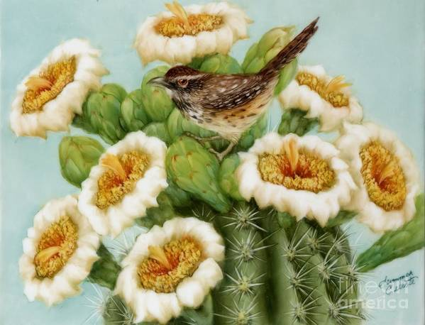 Wren Art Print featuring the painting Wren And Saguaro Blossoms by Summer Celeste