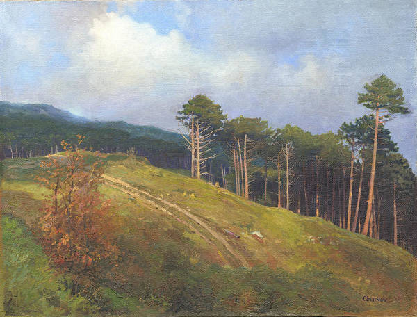 Art Print featuring the painting In The Crimean Mountains  by Denis Chernov