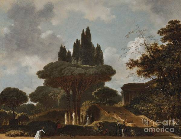 Jean-honore Fragonard ; Italian Landscape With Stairs. Nature Art Print featuring the painting Italian Landscape With Stairs by MotionAge Designs