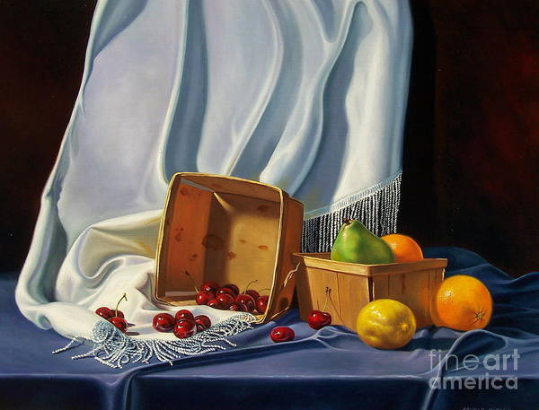 Still Life Art Print featuring the painting Cherries On White by Arnold Hurley