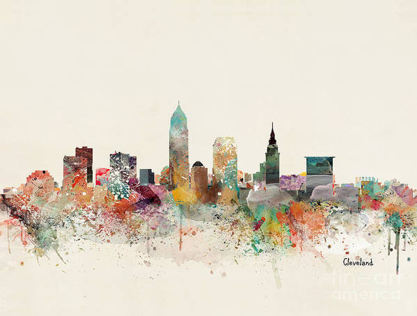 Cleveland Art Print featuring the painting Cleveland City Skyline by Bri Buckley
