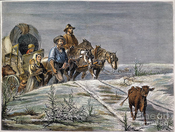 1874 Art Print featuring the photograph Emigrants, 1874 by Granger
