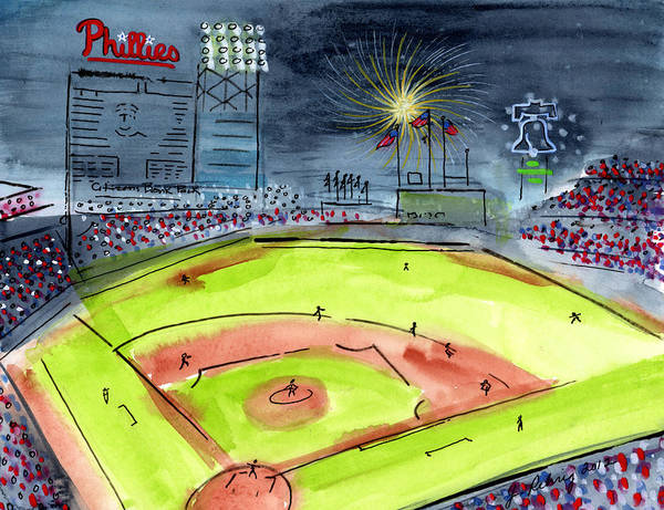 Baseball Print featuring the painting Home Of The Philadelphia Phillies by Jeanne Rehrig