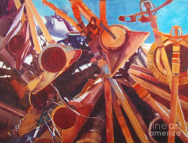 Irrigation Pipes Art Print featuring the painting I Think They Went That-a-way by Elizabeth Carr