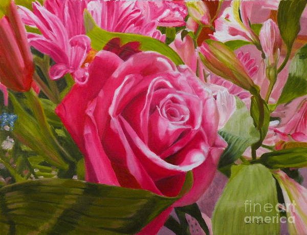 Rose Art Print featuring the painting Pink Bouquet by Lou Spina