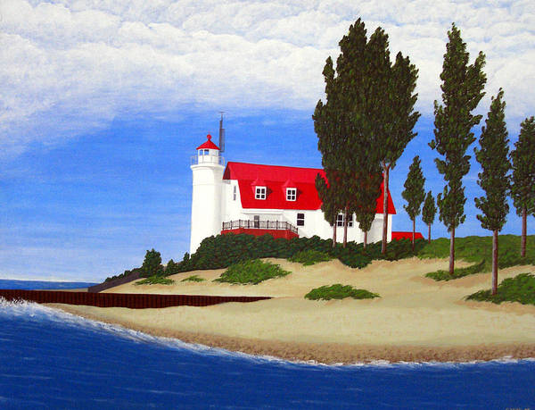 Lighthouse Paintings Art Print featuring the painting Point Betsie Lighthouse by Frederic Kohli