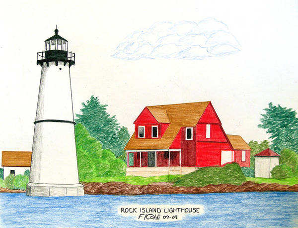 Lighthouse Artwork Art Print featuring the drawing Rock Island Lighthouse by Frederic Kohli
