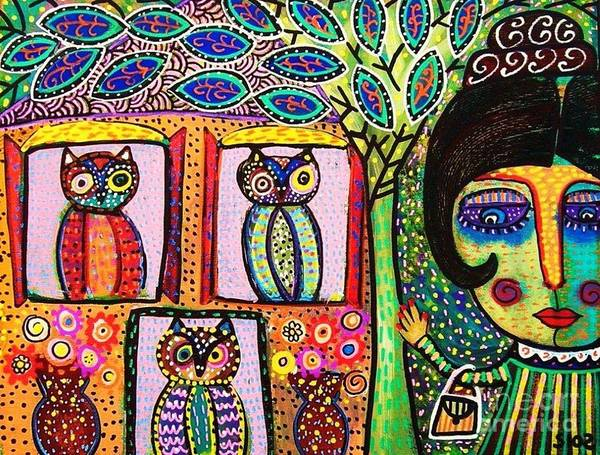 Women Art Print featuring the painting Talavera Owl Tree House by Sandra Silberzweig