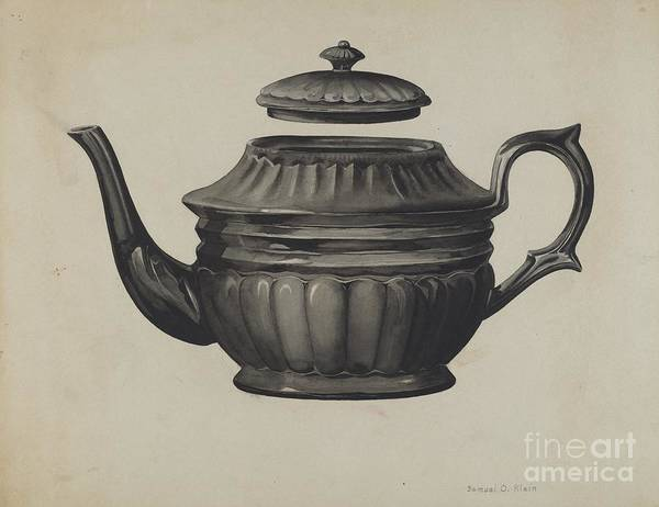 Art Print featuring the drawing Teapot by Samuel O. Klein