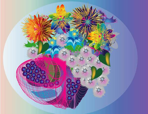 Flowers Art Print featuring the digital art The Arrangement by George Pasini