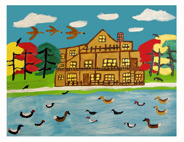 Wildlife Birds Landscape Art Print featuring the painting The Wildlife Hotel by Betty Roberts