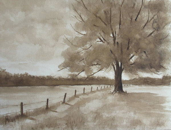 Landscape Art Print featuring the painting 124s Sepia by Pete Maier