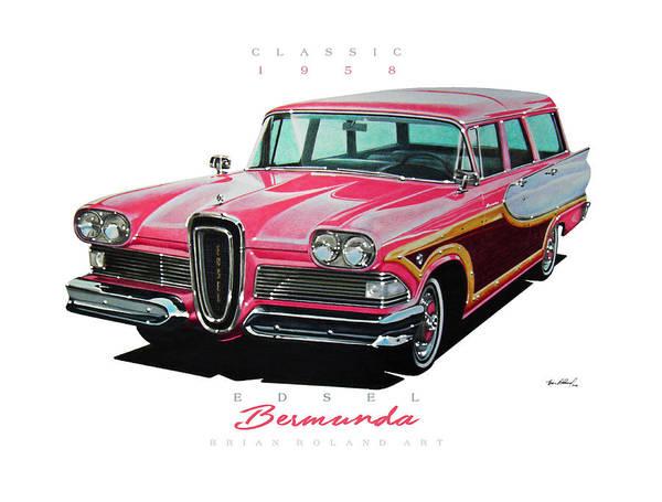 1958 Edsel Bermuda Woody Station Wagon Classic Car Art Print featuring the drawing 1958 Edsel Bermuda by Brian Roland