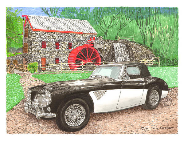 1963 Austin Healey. Santa Fe Concorso Silent Auction Winner In 2011 Art Print featuring the painting 1963 Austin And Sudbury Mill by Jack Pumphrey