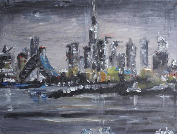 Cities Art Print featuring the painting Dubai by Sladjana Lazarevic