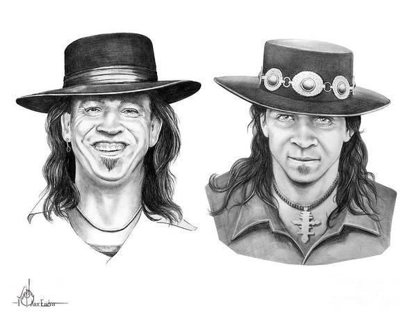 Drawing Art Print featuring the drawing Stevie Ray Vaughn by Murphy Elliott