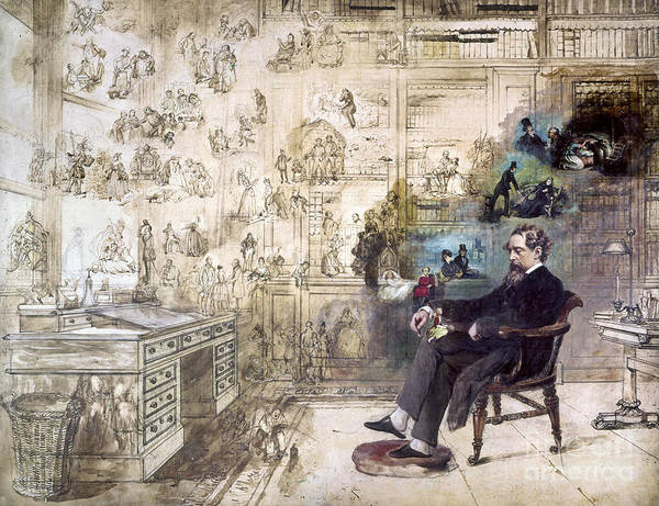 1870s Art Print featuring the photograph Charles Dickens (1812-1870) by Granger