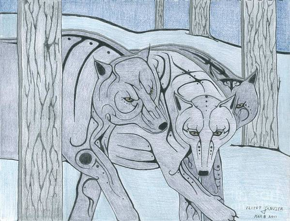 Wolf Art Print featuring the drawing 3 Wolves by Elliot Janvier