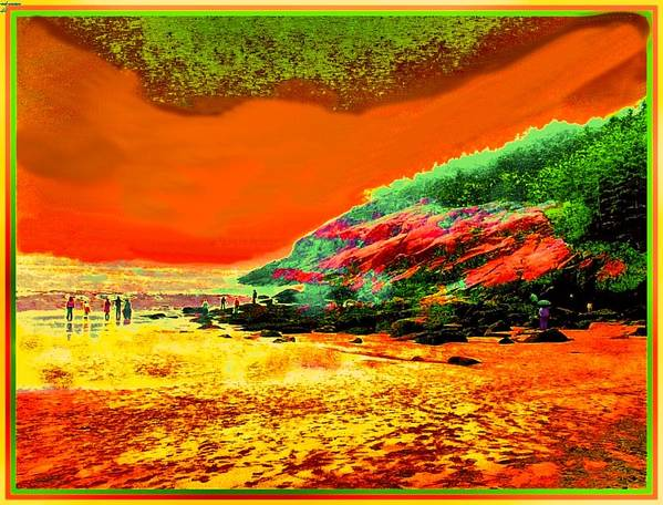 Colorful Landscape Art Print featuring the painting 34g  Beach After A Storm by Ed Immar