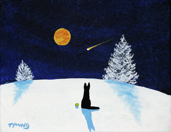 Black Art Print featuring the painting Winter Star by Todd Young