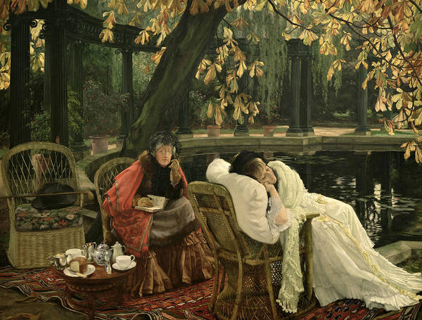 Illness; Lazing; Teatime; Unwell; Invalid; Nurse; Chaperone; Horse; Chestnut; Tree; Victorian; English; Girl; Colonnade; Pool; Autumn; Resting; Tissot; Tissot Garden; St John Wood Art Print featuring the painting A Convalescent by James Jacques Joseph Tissot