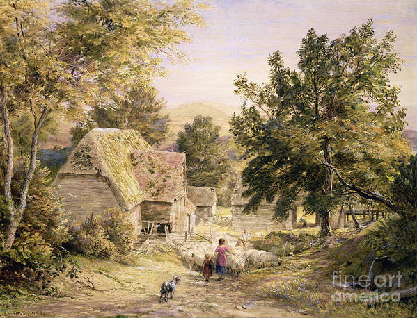 Farmyard Art Print featuring the painting A Farmyard Near Princes Risborough by Samuel Palmer