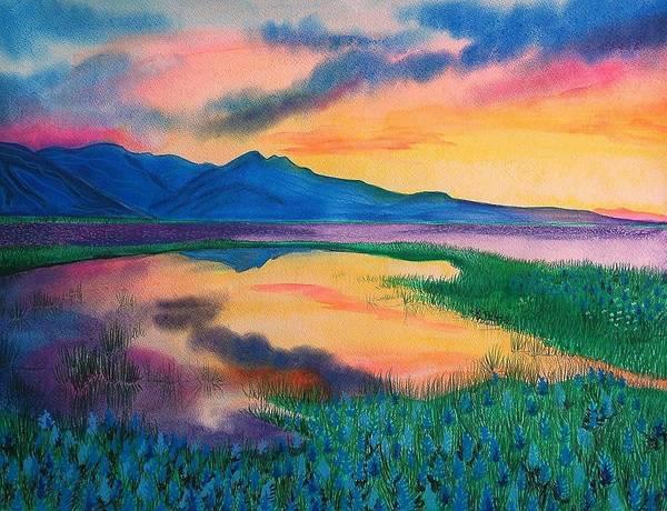 Landscape Art Print featuring the painting A New Beginning by Ramneek Narang