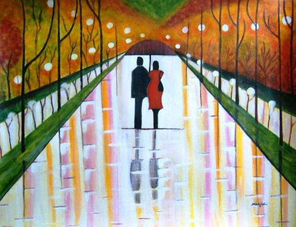 Romantic Painting Figures Romance Umbrella Rain Green Red Orange Grass People Lights Park Garden Tree Reflection Path Valentine Love Art Print featuring the painting A Rainy Dayii by Manjiri Kanvinde